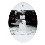 Happy Snowman Ornament (Oval)