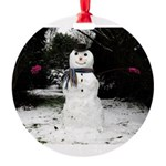 Happy Snowman Round Ornament