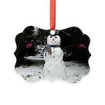 Happy Snowman Picture Ornament