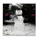 Happy Snowman Tile Coaster