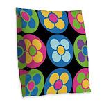 Flower Buttons Burlap Throw Pillow
