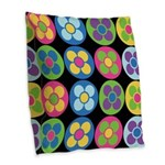 Flower Buttons Accent Burlap Throw Pillow