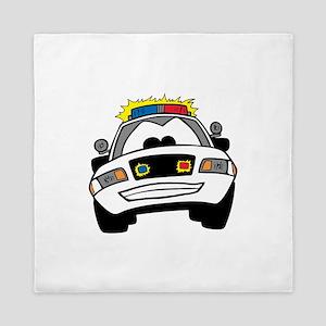 Cartoon Police Car Queen Duvet