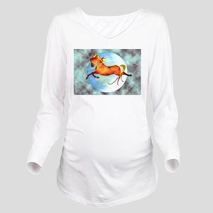 Moon Horse Long Sleeve Maternity T-Shirt