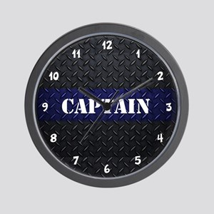 Police Captain Diamond Plate Wall Clock