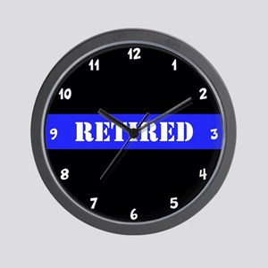 Police Retired Thin Blue Line Wall Clock
