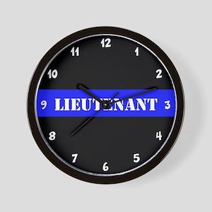 Police Lieutenant Thin Blue Line Wall Clock