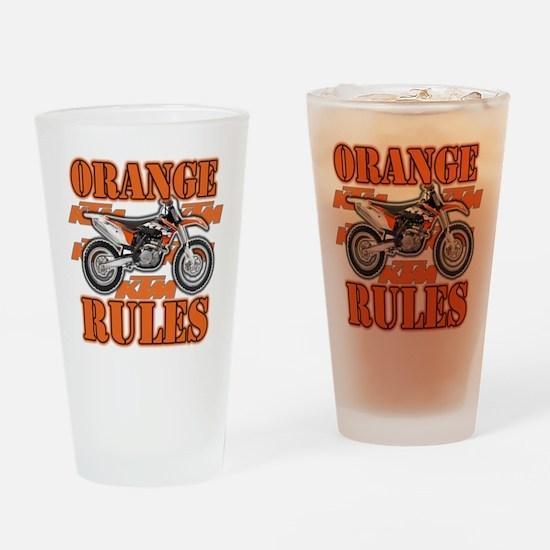 Orange Rules Drinking Glass