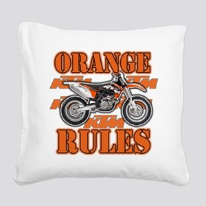 Orange Rules Square Canvas Pillow