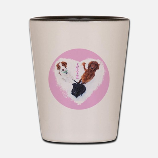 3 Dogs = Love (Pink) Shot Glass