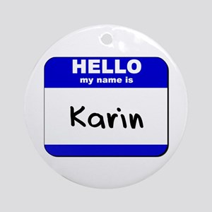 hello my name is karin  Ornament (Round)