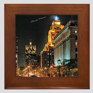 Milwaukee, Wisconsin Cityscape at Nigh Framed Tile