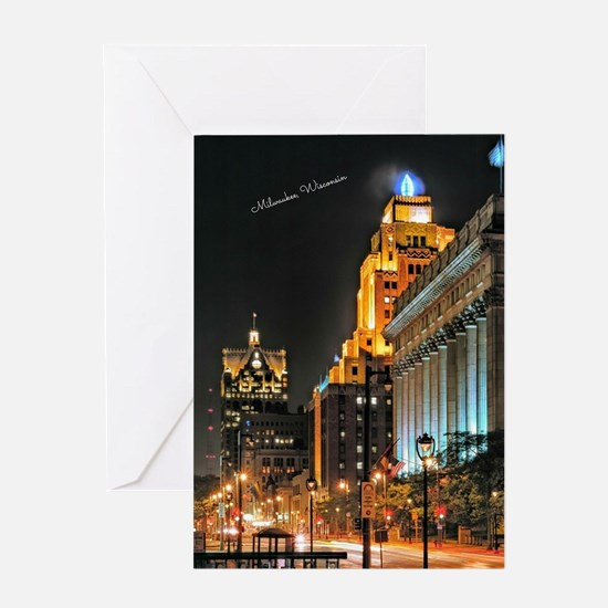 Milwaukee, Wisconsin Cityscape at Ni Greeting Card