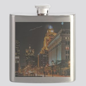 Milwaukee, Wisconsin Cityscape at Night Flask