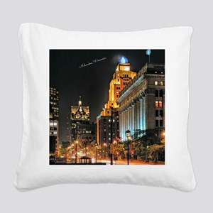 Milwaukee, Wisconsin Cityscap Square Canvas Pillow