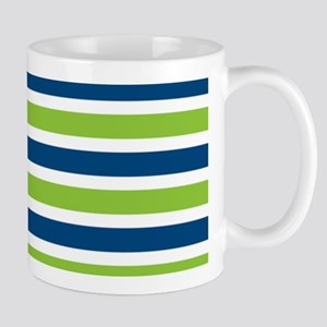 Blue and Lime Stripes Custom Monogram Mug