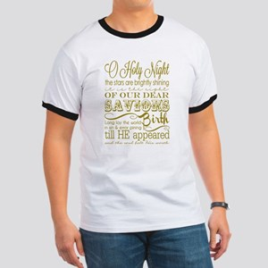 Christmas Typography Gold Ringer T