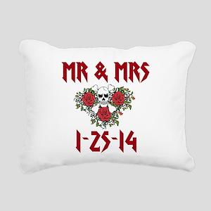 Mr. Mrs. Personalized Dates Rectangular Canvas Pil