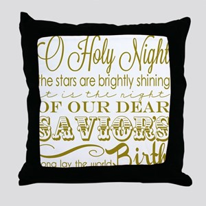 Christmas Typography Gold Throw Pillow