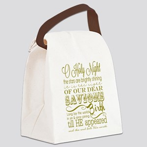 Christmas Typography Gold Canvas Lunch Bag