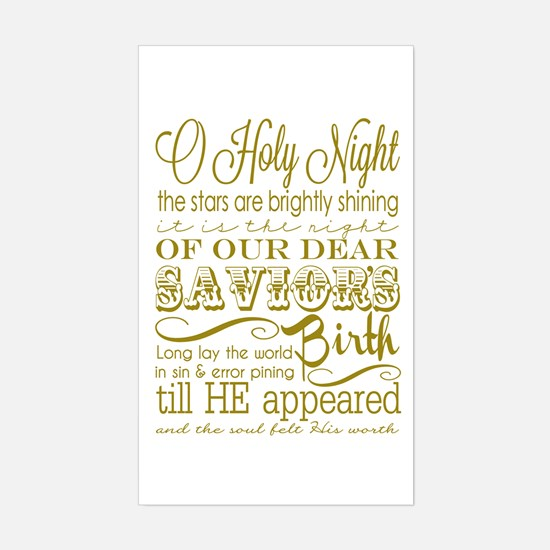 Christmas Typography Gold Sticker (Rectangle)