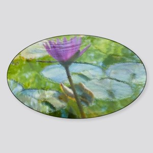 Lily Pad and Lotus Sticker (Oval)