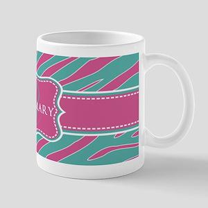 Pink and Teal Animal Print Monogram Mug