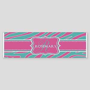 Pink and Teal Animal Print Monogram Sticker (Bumpe