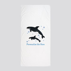 Personalized Killer Whale Beach Towel
