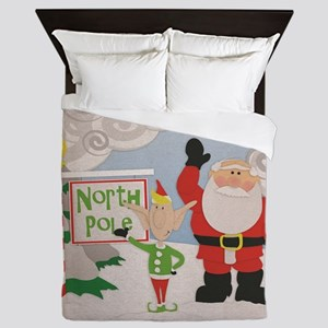 Santa and Company at the North Pole Queen Duvet