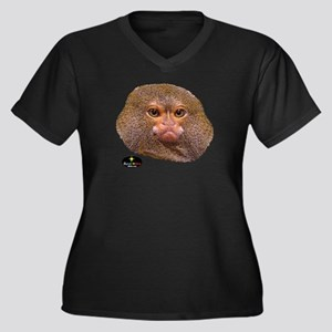MONKEY HEAD Women's Plus Size V-Neck Dark T-Shirt