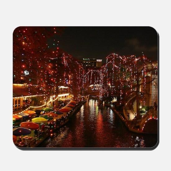 Christmas Lights on San Antonio Riverwal Mousepad