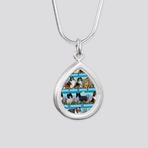 Sheltie Lovers Gifts Silver Teardrop Necklace