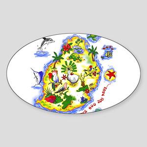 tropical island Oval Sticker