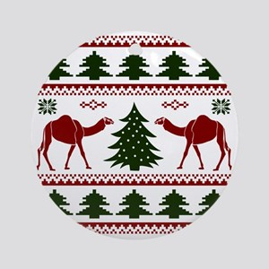 Hump Day Inspired Camel Ugly Sweate Round Ornament