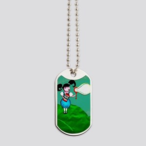 Girl Blowing Speech Bubbles Dog Tags