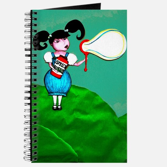 Girl Blowing Speech Bubbles Journal