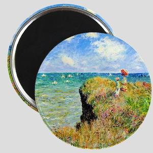 Clifftop Walk at Pourville by Claude Monet Magnet