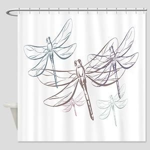 Purple Dragonflies Shower Curtains