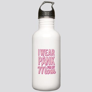 I Wear Pink for My Mom Breast Cancer Water Bottle