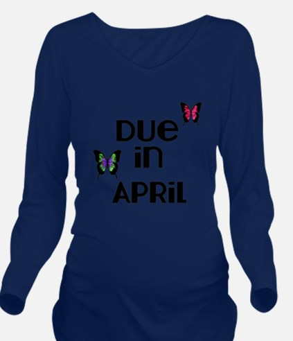 Due in April with Butterflies Long Sleeve Maternit