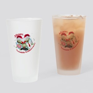 Merry Zombie Family Christmas Drinking Glass