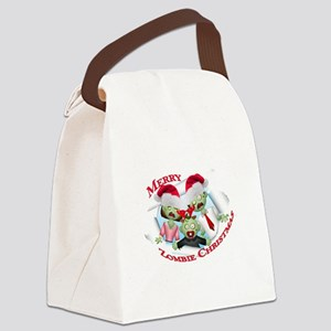 Merry Zombie Family Christmas Canvas Lunch Bag