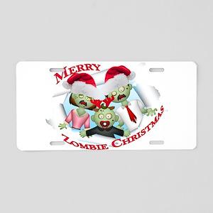 Merry Zombie Family Christmas Aluminum License Pla