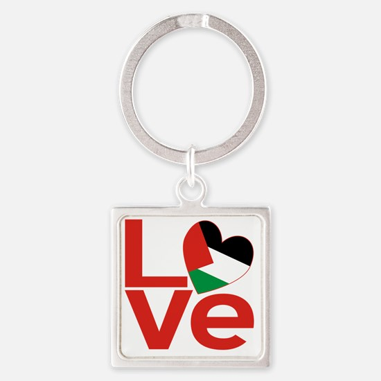 Red Palestinian LOVE Square Keychain