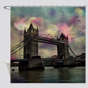 london tower bridge, dramatic light Shower Curtain
