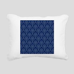 Dark Blue Retro Floral Rectangular Canvas Pillow