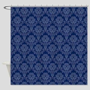 Dark Blue Retro Floral Shower Curtain