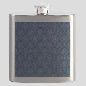 Dark Blue Retro Floral Flask