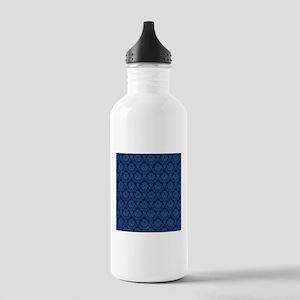 Dark Blue Retro Floral Water Bottle
